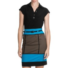 Chetta B Color-Block Dress - Short Sleeve (For Women) in Mushroom/Turquoise - Closeouts