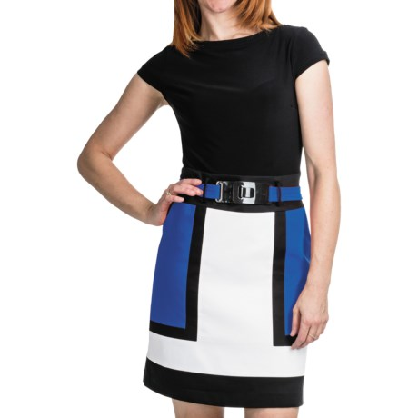 Chetta B Color-Block Dress - Short Sleeve (For Women) in Black/Red Multi