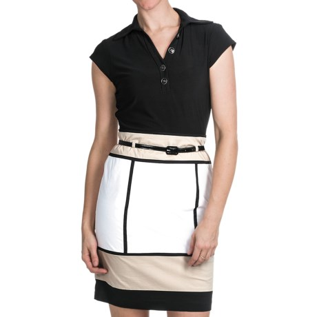 Chetta B Color-Block Dress - Short Sleeve (For Women) in White/Sand