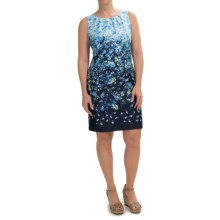 Chetta B Cotton Rich Sateen Sheath Dress - Sleeveless (For Women) in Navy/Blue Bell - Closeouts