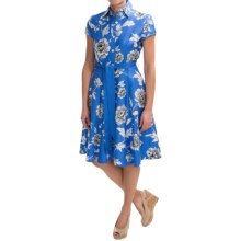 Chetta B Fit & Flare Dress - Cotton Sateen, Short Sleeve (For Women) in China Blue/White - Closeouts