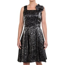 Chetta B Fit and Flare Dress - Sleeveless (For Women) in Black/Silver Burnout Chiffon
