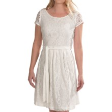 Chetta B Fit and Flare Floral Lace Dress - Short Sleeve (For Women) in White - Closeouts