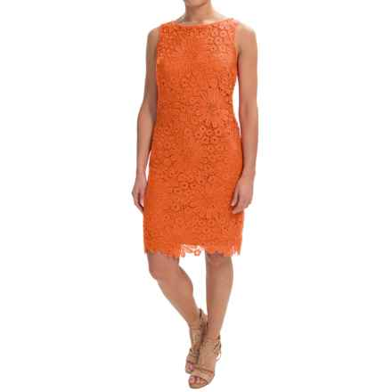 Chetta B Floral Lace Sheath Dress - Sleeveless (For Women) in Tangerine - Closeouts