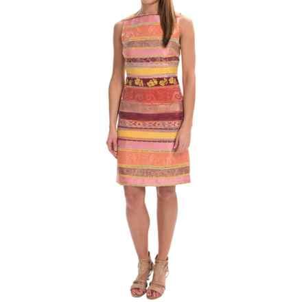 Chetta B Jacquard Sheath Dress - Sleeveless (For Women) in Fruit Punch/Cantalope - Closeouts
