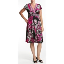 Chetta B Jersey Print Dress - V-Neck, Short Sleeve (For Women) in Fuschia/Black - Closeouts