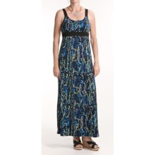 Chetta B Jersey Print Maxi Dress - Straps (For Women) in Blue/Black - Closeouts