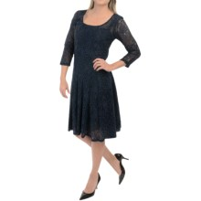 Chetta B Lace Fit-and-Flare Dress - Long Sleeve (For Women) in Ink - Closeouts