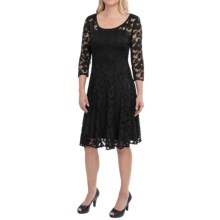 Chetta B Magic Waist Stretch Lace Dress - 3/4 Sleeve (For Women) in Black - Closeouts