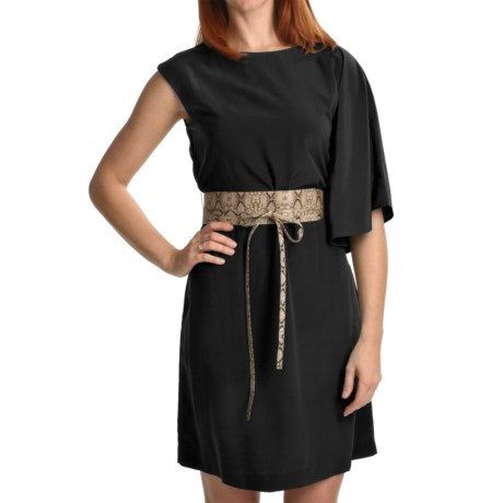 Chetta B One-Shoulder Bat Wing Dress - Belted, Sleeveless (For Women) in Black W/Brown Belt