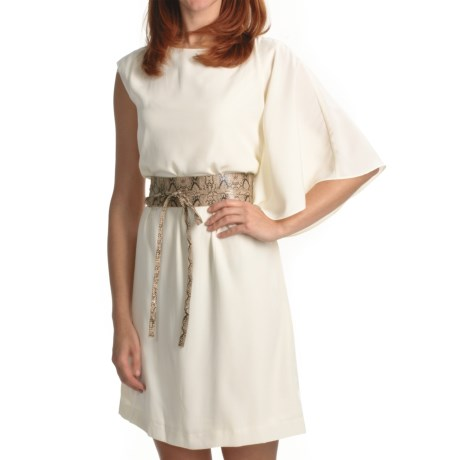 Chetta B One-Shoulder Bat Wing Dress - Belted, Sleeveless (For Women) in Ivory