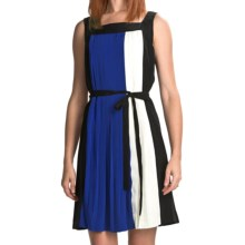 Chetta B Pleated Color-Block Dress (For Women) in Black Multi - Closeouts