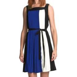 Chetta B Pleated Color-Block Dress (For Women) in Black Multi
