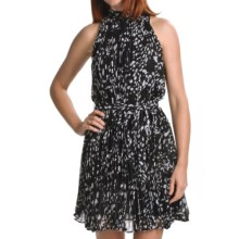 Chetta B Polka-Dot Dress - Pleated Chiffon, Sleeveless (For Women) in Black - Closeouts