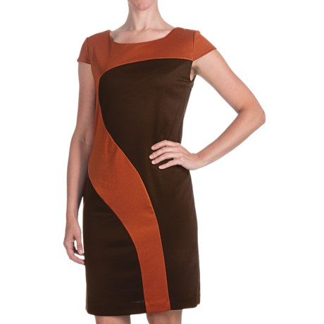 Chetta B Ponte Knit Geometric Dress - Short Sleeve (For Women) in Chocolate/Spice