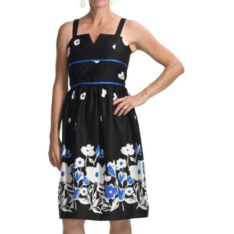 Chetta B Print Sundress - Straps (For Women) in Black/Fuchsia