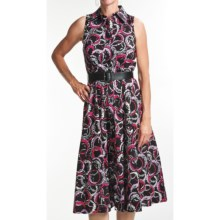 Chetta B Printed Shirtwaist Dress - Sleeveless (For Women) in Black/Fuchisa - Closeouts