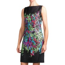Chetta B Sheath Dress - Cotton Sateen, Sleeveless (For Women) in Black Multi Floral - Closeouts