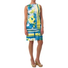 Chetta B Sheath Dress - Cotton Sateen, Sleeveless (For Women) in China Blue/Daffodil Floral Brush Stroke - Closeouts