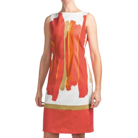 Chetta B Sheath Dress - Cotton Sateen, Sleeveless (For Women) in Coral Brushstroke