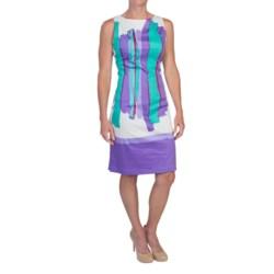 Chetta B Sheath Dress - Cotton Sateen, Sleeveless (For Women) in Hydrangea/Bright Aqua