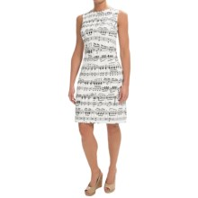 Chetta B Sheath Dress - Cotton Sateen, Sleeveless (For Women) in Ivory/Black Music Notes - Closeouts