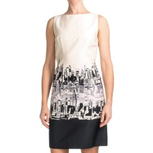 Chetta B Sheath Dress - Cotton Sateen, Sleeveless (For Women) in Ivory/Black Venice - Closeouts