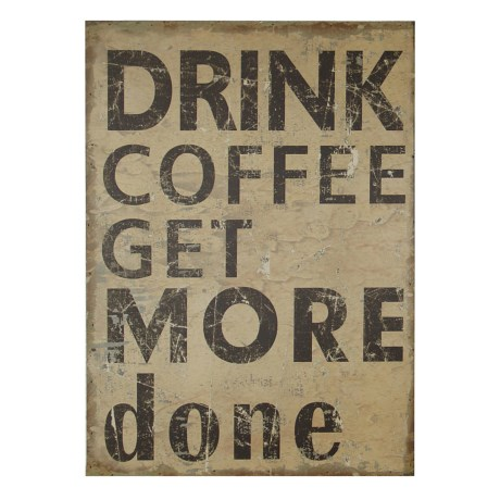"Cheung's Rattan ""Drink Coffee Get More Done"" Wooden Wall Art in Brown"