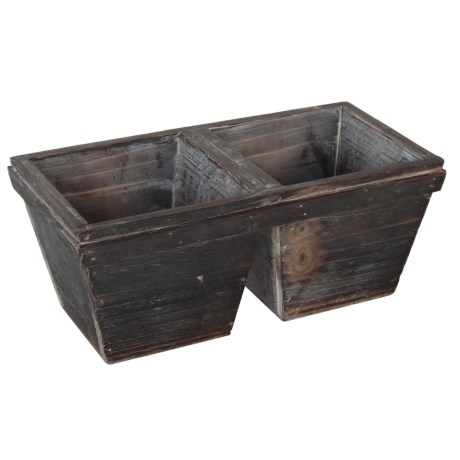 Cheung's Rattan 2-Pot Wood Planter in Brown
