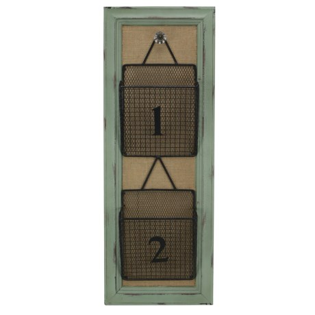 Cheung's Rattan 2-Tier Wire Mail Storage on Wood Board in Silver/Natural