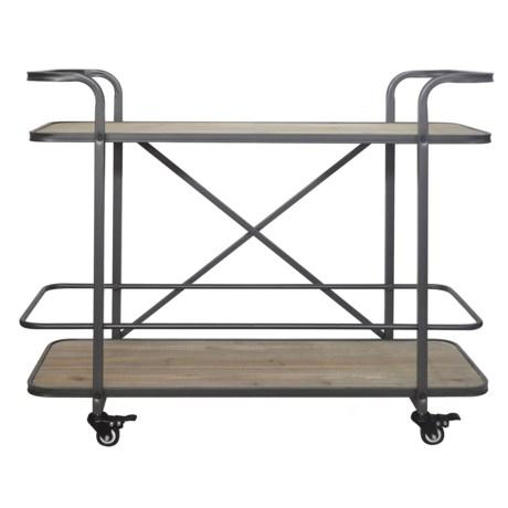 Cheung's Rattan 2-Tier Wood Shelf Cart in Natural