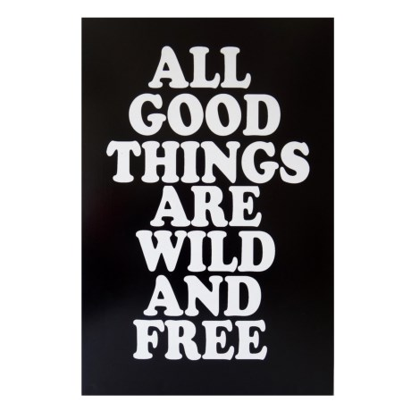 """Cheung's Rattan 24x16"""" """"All Good Things are Wild and Free"""" Wooden Wall Art in Black/White"""