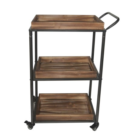 Cheung's Rattan 3-Tier Wood Box Cart in Brown