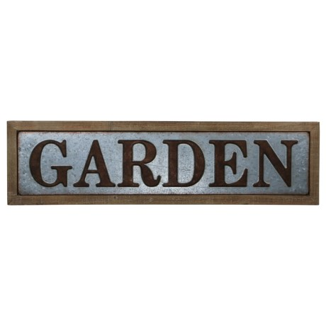 """Cheung's Rattan 33x9"""" Galvanized Metal and Wood """"Garden"""" Sign in Silver/Brown"""