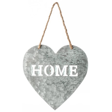 "Cheung's Rattan 9"" Metal Heart Shape ""Home"" Wall Hanging in Grey/White"