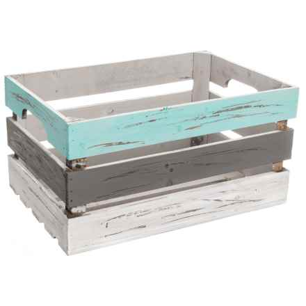 Cheung's Rattan Large Wood Storage Crate in Grey - Closeouts
