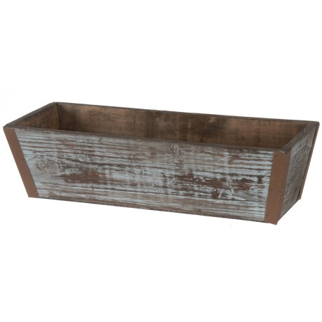Cheung's Rattan Lined Wooden Ledge Planter in Grey Wash