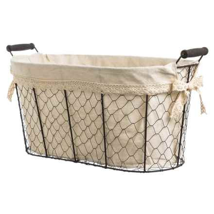Cheung's Rattan Linen-Lined Wire Basket - Large in Brown/Beige - Closeouts