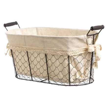 Cheung's Rattan Linen-Lined Wire Basket - Medium in Brown/Beige - Closeouts
