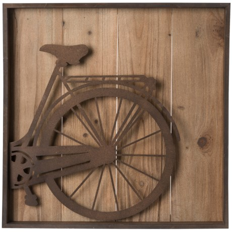 Cheungu0027s Rattan Metal Bicycle Wall Art   22x22u201d In Brown/Black
