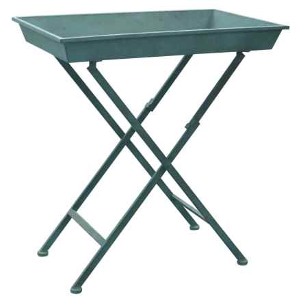 Cheung's Rattan Metal Garden Tray Table in Natural - Closeouts