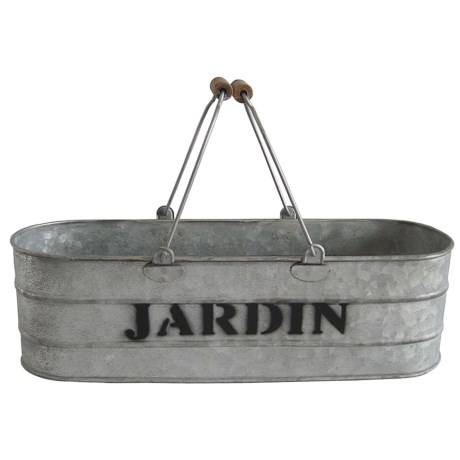 "Cheung's Rattan Oval ""Jardin"" Garden Ledge Basket with Metal Handle in Silver/Black"