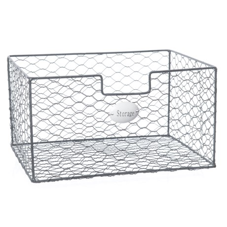 "Cheung's Rattan Small Square Wire Organizer - 10.25x7.5x6"" in Grey"