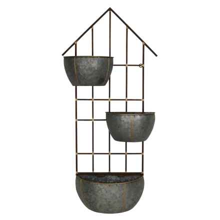 Cheung's Rattan Three-Pot Metal Wall Storage Unit in Silver - Closeouts