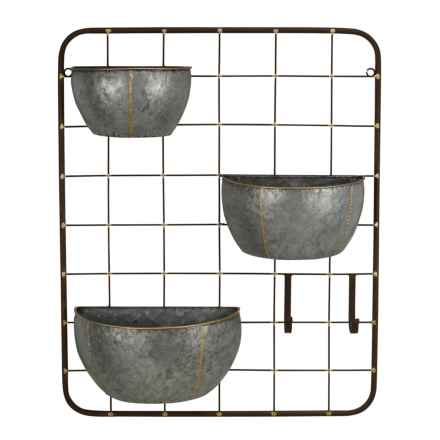 Cheung's Rattan Three-Pot Metal Wall Storage Unit with 2 Hooks in Silver - Closeouts