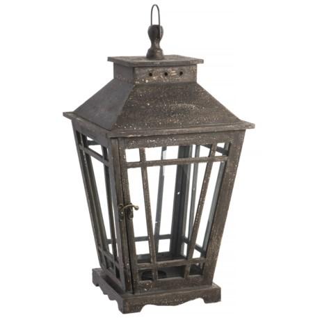Cheung's Rattan Timeworn Small Wood Garden Lantern in Dark Brown