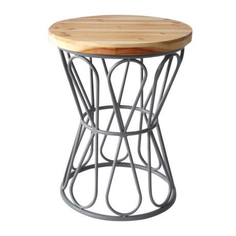 Cheung's Rattan Wood-Top Stool in Gray/Natural