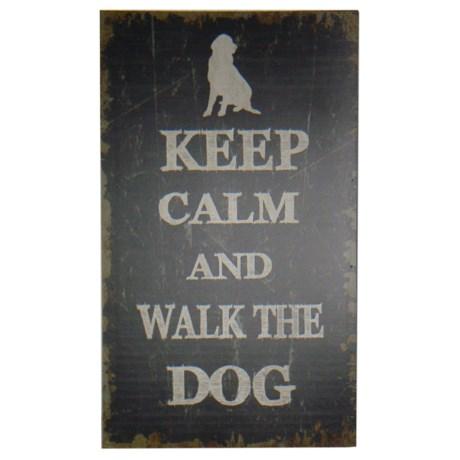 Cheungu0027s Rattan Wooden U201cKeep Calm And Walk The Dogu201d Wall Art In Brown