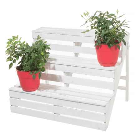 Cheung's Rattan Wooden 3-Tier Plant Stand in White - Closeouts