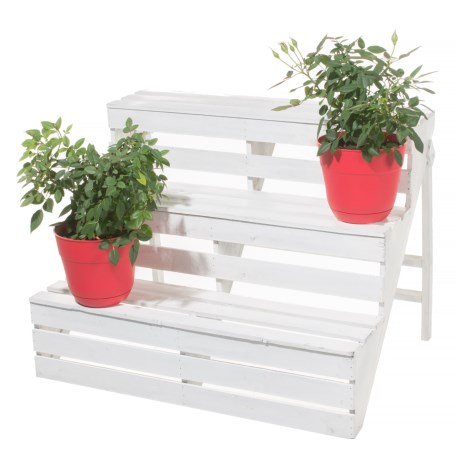 Cheung's Rattan Wooden 3-Tier Plant Stand in White